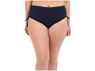 MICHAEL Michael Kors Logo Solids Shirred Hipster Bottom Plus Women's Swimwear