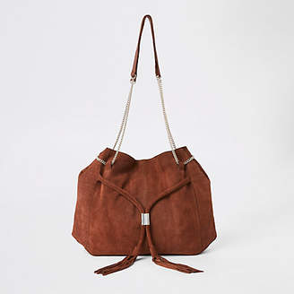River Island Brown leather chain slouch bag