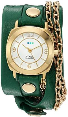 La Mer Women's 'Portland Chain' Quartz Gold-Tone and Leather Watch