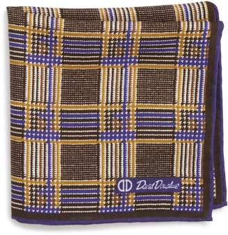 David Donahue Plaid Wool & Silk Pocket Square