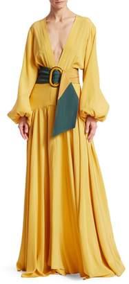 Silvia Tcherassi Felicity Balloon-Sleeve Belted A-Line Maxi Dress