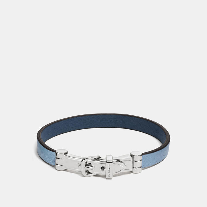 Coach   COACH Coach Two Tone Glovetanned Leather Buckle Bracelet