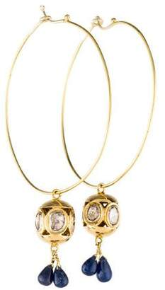 14K Diamond Slice & Sapphire Hoop Earrings