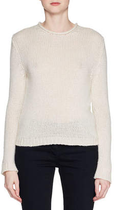 The Row Droi Crewneck Long-Sleeve Cashmere-Blend Sweater
