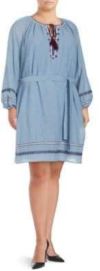 Lord & Taylor Plus Embroidered Gauze Peasant Dress