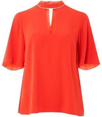 Dorothy Perkins Womens Red Keyhole Embellished Top
