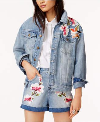 MinkPink Cotton Patched Denim Jacket