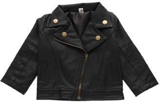 Zerowin Girls Kids PU Leather Jacket Lapel PU Coat Short Black Jacket for Baby