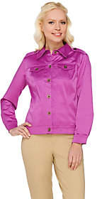 Joan Rivers Classics Collection Joan Rivers Long Sleeve Cotton Sateen Jacket