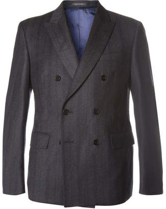Charcoal Slim-Fit Striped Wool-Twill Double-Breasted Blazer