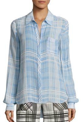 Diane von Furstenberg Carter Plaid Shirt $248 thestylecure.com