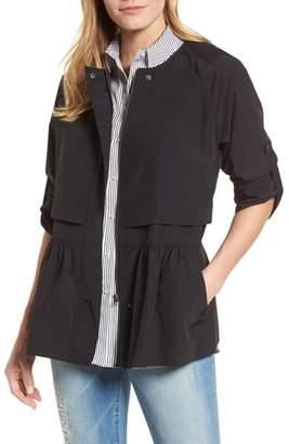 Caslon Peplum Cotton Blend Utility Jacket