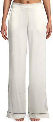Neiman Marcus Asceno Contrast-Piping Wide-Leg Silk Pajama Pants