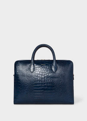 Paul Smith Men's Blue 'Bright Stripe' Mock-Croc Leather Business Folio