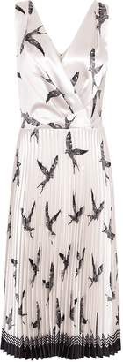 Reiss Peyton - Bird Printed Knife Pleat Midi Dress in Multi