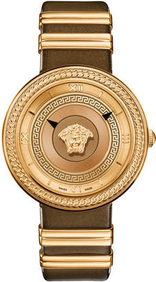 Versace 40mm V-Metal Icon Watch w\/ Leather Strap Gold\/Brown