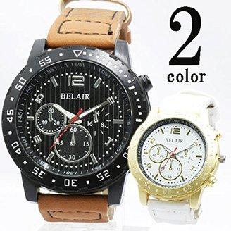 Bel Air [ベルエア 腕時計 XX4 (ゴールドxホワイト) ストライプ文字盤にゴツめケース メンズ