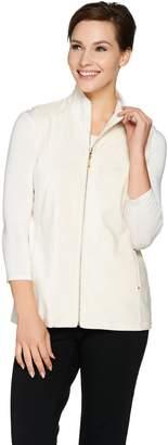 Susan Graver Weekend Corduroy Zip Front Knit Vest
