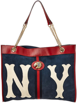 625593ff8 Gucci Rajah New York Yankees Large Suede & Leather Tote