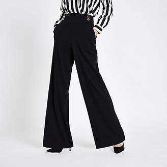 River Island Black double button wide leg pull on pants