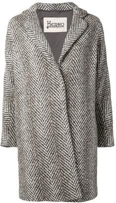 Herno chevron pattern midi coat