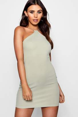 boohoo Petite Rib Strappy Bodycon Dress