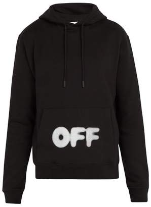 Off-White Off White Kidmograph Print Cotton Jersey Hooded Sweatshirt - Mens - Black