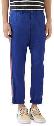 Gucci Men's Linen Satin Blend Trousers