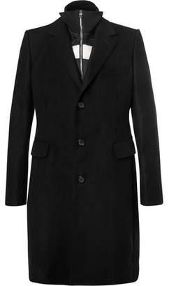 Alexander McQueen Moleskin Coat With Detachable Striped Satin Liner