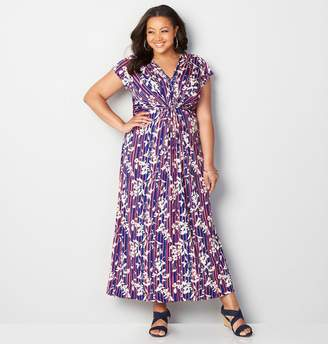 Avenue Knotted Floral Stripe Maxi Dress