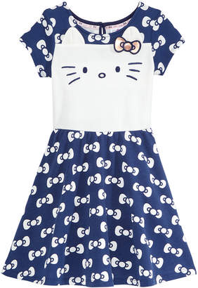 Hello Kitty Embroidered-Face Bow-Print Dress, Little Girls