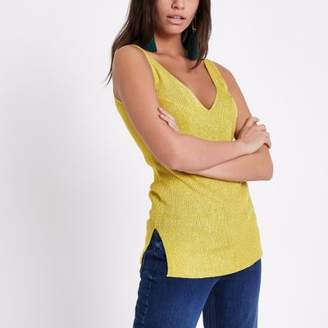River Island Womens Yellow metallic stitch knit tank