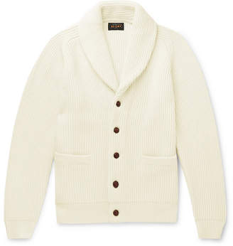 Beams Shawl-Collar Ribbed Wool-Blend Cardigan