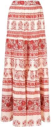 Johanna Ortiz printed tiered maxi skirt