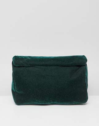 Asos Design DESIGN roll top clutch bag in velvet