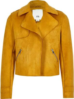 River Island Girls Yellow faux suede crop jacket