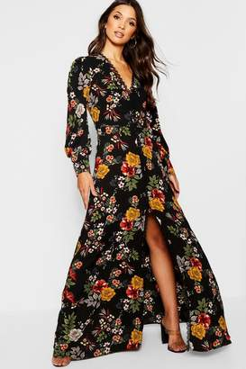 boohoo Crochet Trim Tonal Floral Button Front Maxi Dress