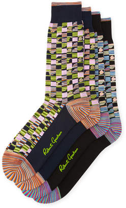 Robert Graham Two-Pack Square-Stripe Pattern Socks