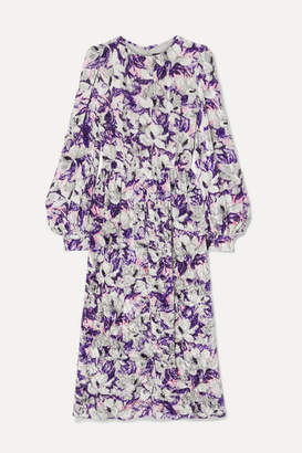 Marc Jacobs Floral-print Crushed-velvet Midi Dress - Lilac