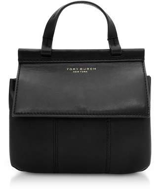 Tory Burch Black Genuine Leather Block-t Mini Satchel Bag
