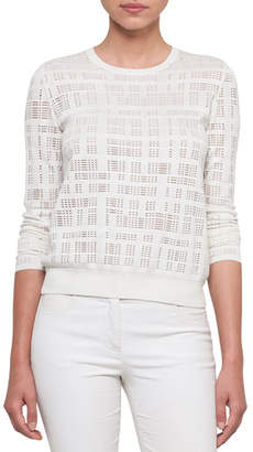Akris Crewneck Long-Sleeve Embroidered Pullover Top