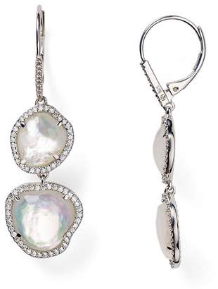 Nadri Sterling Silver & Mother of Pearl Double Drop Earrings