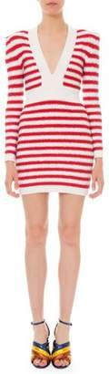 Balmain Long-Sleeve Shimmer Striped Body-Con Dress