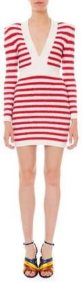 Balmain Long-Sleeve Shimmer Striped Body-Con Dress