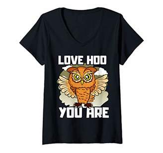 Womens Owl Love Hoo You Are Funny Humor V-Neck T-Shirt