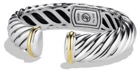 David Yurman Sculpted Cable Cuff with Gold $950 thestylecure.com