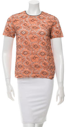 Mulberry Floral Lace Short Sleeve Top $110 thestylecure.com