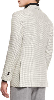 Neiman Marcus Oxxford Houndstooth Two-Button Sport Coat, Gray/White