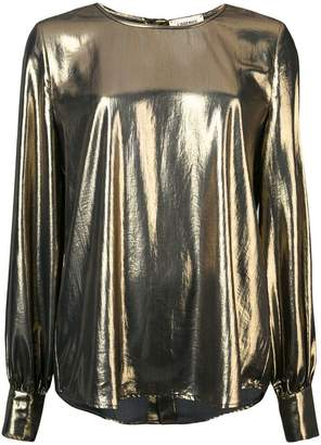 L'Agence metallic round neck blouse