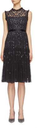 Needle & Thread 'Clover Gloss' sequin floral embroidered tulle dress